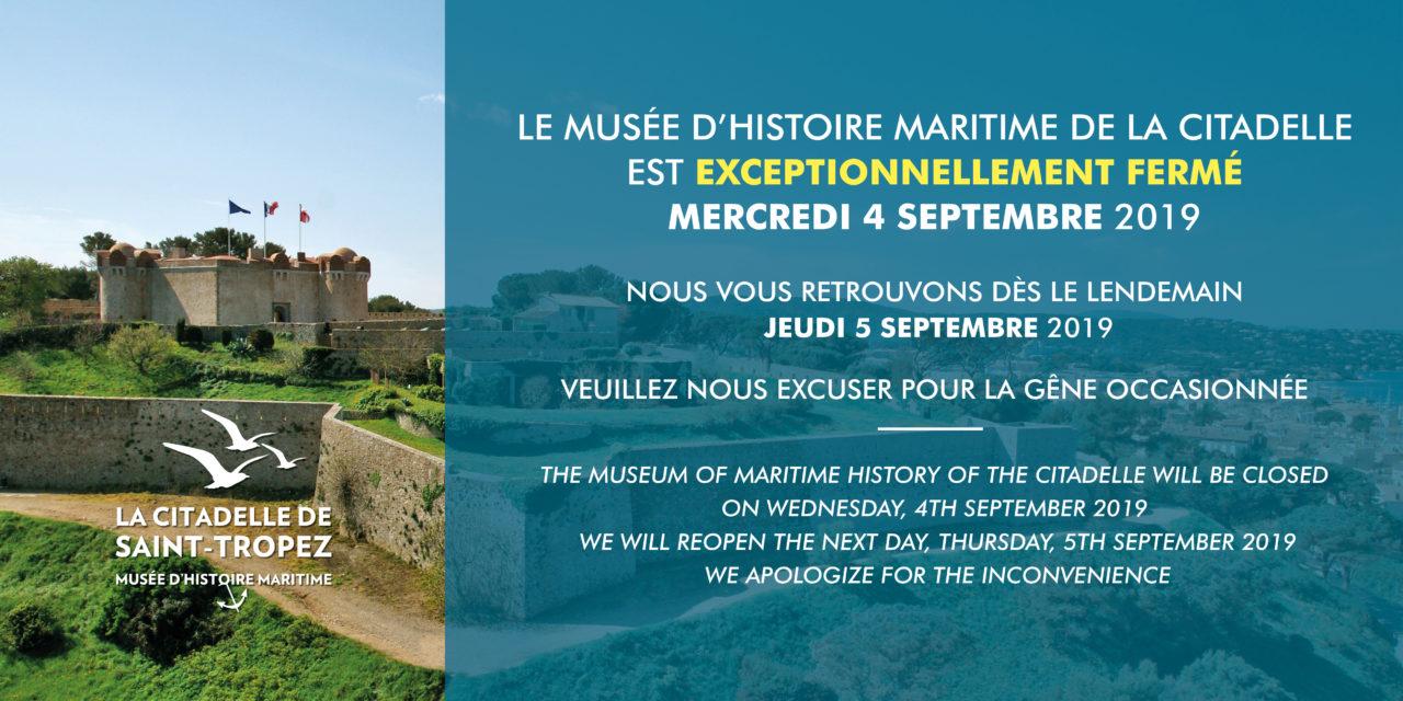 Fermeture du musée d'histoire maritime de la Citadelle la journée du 4 septembre