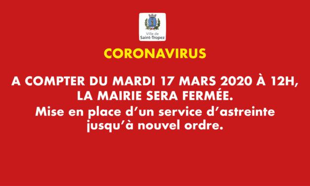 CORONAVIRUS : FERMETURE DE LA MAIRIE ET SERVICE PUBLIC RESTREINT