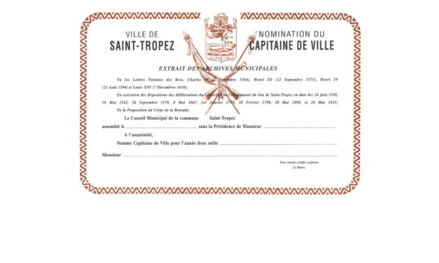 Nomination du 463e Capitaine de ville